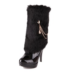 Patent Leather Stiletto Heel Mid-Calf Boots With Chain shoes