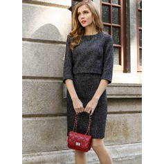 Polyester/Cotton/Woolen With Stitching Above Knee Dress (199103599)