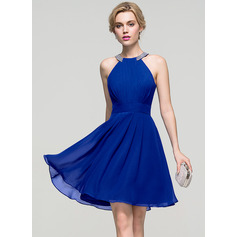 A-Line/Princess Scoop Neck Knee-Length Chiffon Homecoming Dress With Ruffle Beading (022089920)