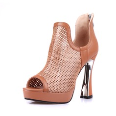 Real Leather Chunky Heel Sandals Pumps Peep Toe Ankle Boots With Zipper shoes