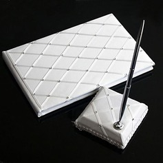Chequered Satin Rhinestones Guestbook/Pen Set