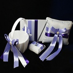 Wedding Collection Set In Ivory Satin With Lilac Ribbons (4 Pieces)(100018013)
