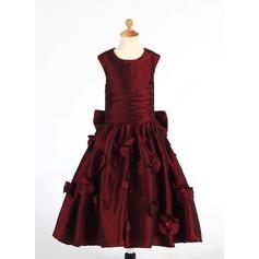 A-Line/Princess Tea-length Flower Girl Dress - Taffeta Sleeveless Scoop Neck With Ruffles/Flower(s)/Sequins/Bow(s)