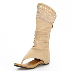 Leatherette Flat Heel Sandals Mid-Calf Boots With Hollow-out shoes