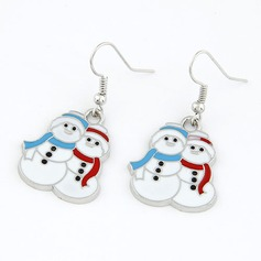 Snowman Alloy Coloured Glaze Women's Fashion Earrings
