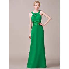 Sheath/Column Scoop Neck Floor-Length Chiffon Bridesmaid Dress With Ruffle