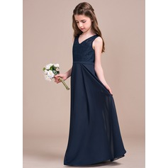 A-Line/Princess V-neck Floor-Length Chiffon Lace Junior Bridesmaid Dress
