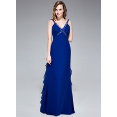 Empire V-neck Floor-Length Chiffon Evening Dress With Beading Sequins Cascading Ruffles