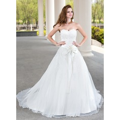 Ball-Gown Sweetheart Court Train Satin Organza Lace Wedding Dress With Beading Flower(s)