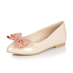 Leatherette Flat Heel Flats Pumps With Bowknot shoes