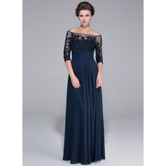 A-Line/Princess Off-the-Shoulder Floor-Length Chiffon Mother of the Bride Dress With Beading Appliques Lace Sequins