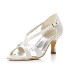 Women's Satin Stiletto Heel Peep Toe Sandals With Buckle
