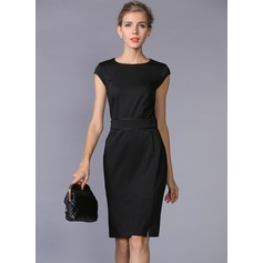 Ponte-de-roma With Solid Color Knee Length Dress (199086977)
