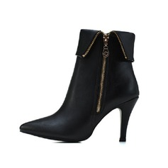 Women's Patent Leather Stiletto Heel Ankle Boots Martin Boots With Zipper shoes