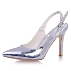 Women's Patent Leather Stiletto Heel Closed Toe Pumps Slingbacks With Buckle