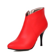 Women's Leatherette Stiletto Heel Ankle Boots shoes (088092950)
