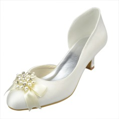 Women's Satin Kitten Heel Closed Toe Pumps With Bowknot Imitation Pearl Rhinestone