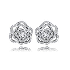 Flower Shaped Copper/Zircon/Platinum Plated Women's/Ladies' Earrings