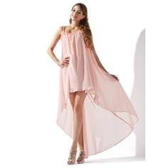 A-Line/Princess Scoop Neck Asymmetrical Chiffon Homecoming Dress With Ruffle