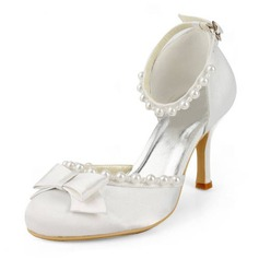 Women's Satin Stiletto Heel Closed Toe Pumps With Bowknot Buckle Imitation Pearl