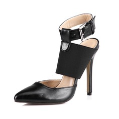 Leatherette Stiletto Heel Ankle Boots With Buckle shoes