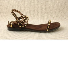 Suede Velvet Flat Heel Sandals Flats With Rivet (087024961)