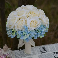 """Just budding"" Round Satin Bridal Bouquets"