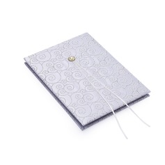 Silver Scroll Faux Pearl Guestbook