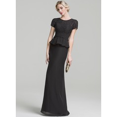 Trumpet/Mermaid Scoop Neck Floor-Length Chiffon Evening Dress With Ruffle Beading Sequins