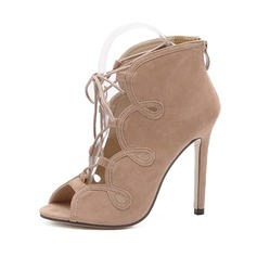 Women's Suede Stiletto Heel Peep Toe Ankle Boots With Hollow-out Braided Strap shoes