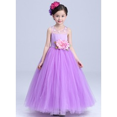 Ball Gown Floor-length Flower Girl Dress - Satin/Tulle Sleeveless Scoop Neck With Flower(s)/Bow(s)