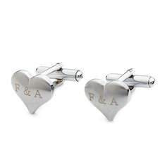 Personalized Heart Design Stainless Steel Cufflinks (2 Pieces)