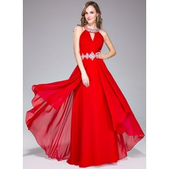 A-Line/Princess Scoop Neck Floor-Length Chiffon Prom Dress With Ruffle Beading