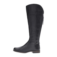 Women's Leatherette Low Heel Closed Toe Knee High Boots shoes