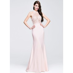 Sheath/Column Scoop Neck Floor-Length Jersey Prom Dress With Beading Appliques Lace Sequins