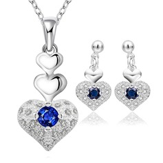 Beautiful Copper/Zircon/Silver Plated Ladies' Jewelry Sets