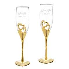 Personalized Double Hearts Crystal Toasting Flutes With Rhinestone (Set of 2)