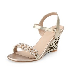 Real Leather Wedge Heel Sandals Slingbacks With Rhinestone shoes