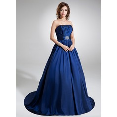 Ball-Gown Strapless Court Train Taffeta Quinceanera Dress With Ruffle Beading
