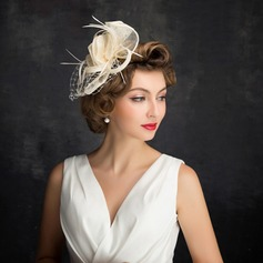 Ladies' Classic Feather/Net Yarn/Tulle/Linen With Feather Fascinators (196105138)