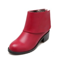 Women's Leatherette Chunky Heel Ankle Boots shoes