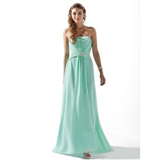 A-Line/Princess Strapless Sweep Train Chiffon Bridesmaid Dress With Ruffle Beading Crystal Brooch