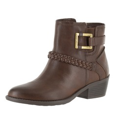 Women's Leatherette Chunky Heel Boots Ankle Boots With Buckle Zipper shoes