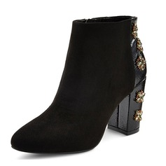 Women's Suede Chunky Heel Boots Ankle Boots With Rhinestone shoes