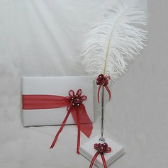 Beautiful Satin Ribbons/Sash Guestbook/Pen Set
