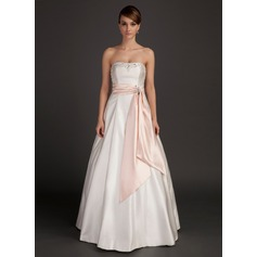 A-Line/Princess Strapless Floor-Length Charmeuse Wedding Dress With Sash Beading