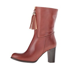 Women's Leatherette Chunky Heel Closed Toe Mid-Calf Boots With Zipper shoes