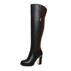 Real Leather Leatherette Chunky Heel Knee High Boots With Zipper shoes