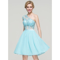 A-Line/Princess One-Shoulder Knee-Length Chiffon Homecoming Dress