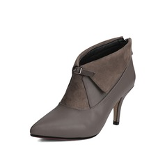 Women's Suede Stiletto Heel Ankle Boots With Ruched shoes